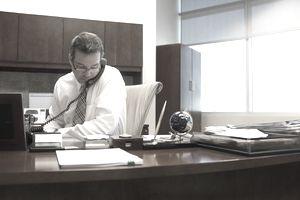 Medical administrator on telephone