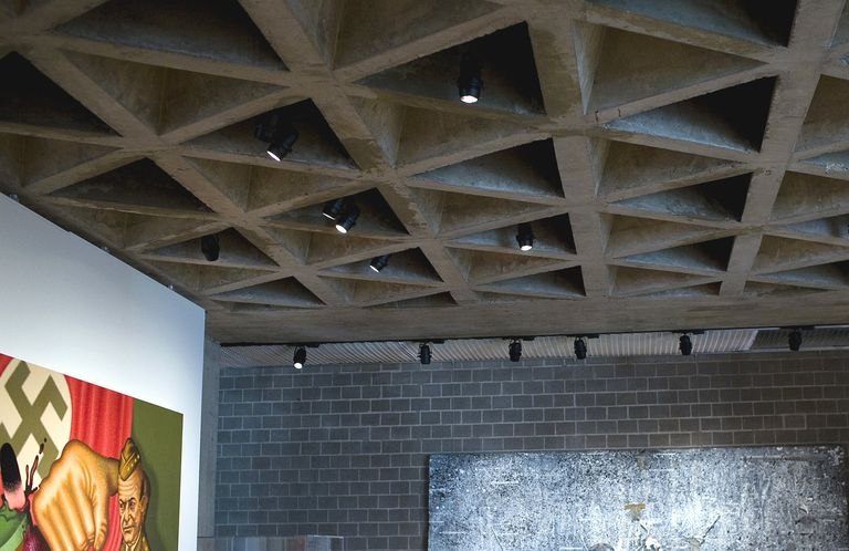 Tetrahedronical ceiling at Yale University Art Gallery, inspired by Anne Tyng