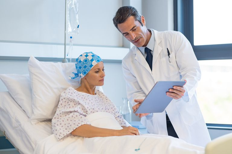 breast cancer patient talking with doctor