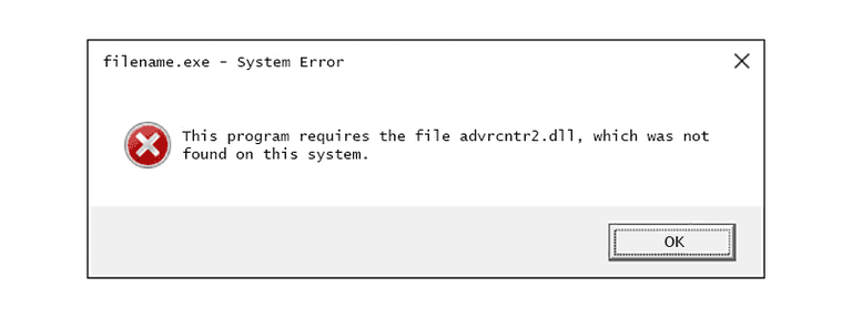 Screenshot of an advrcntr2 DLL error message in Windows 10
