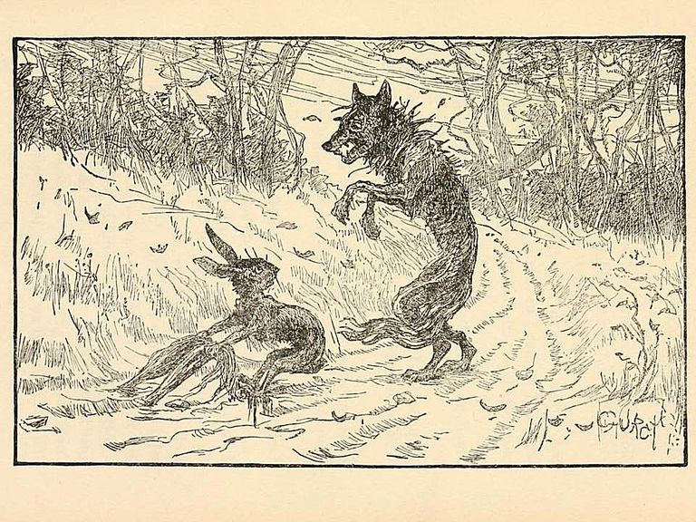 Illustration of Brer Rabbit and a wolf.