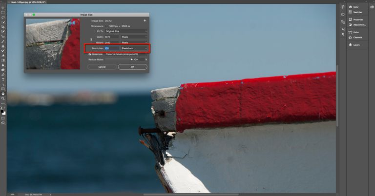 Image shows the Image Size dialog box in Photoshop and the resolution of 1`00 pixels per inch is highlighted.