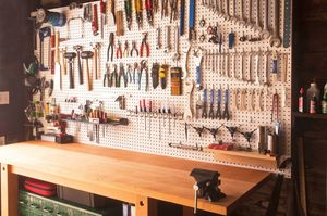 A workbench with tools built from a free plan