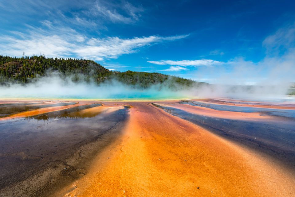 A ground-level view of the Grand Prismatic Spring, Yellowstone National Park