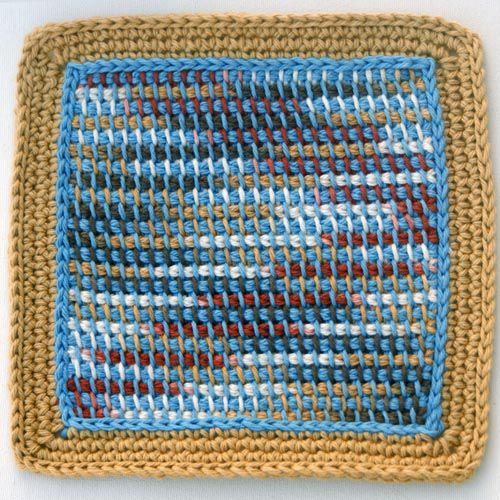 Free crochet dishcloth patterns for your kitchen camel and blue crocheted dishcloth made with solid and variegated yarns dt1010fo