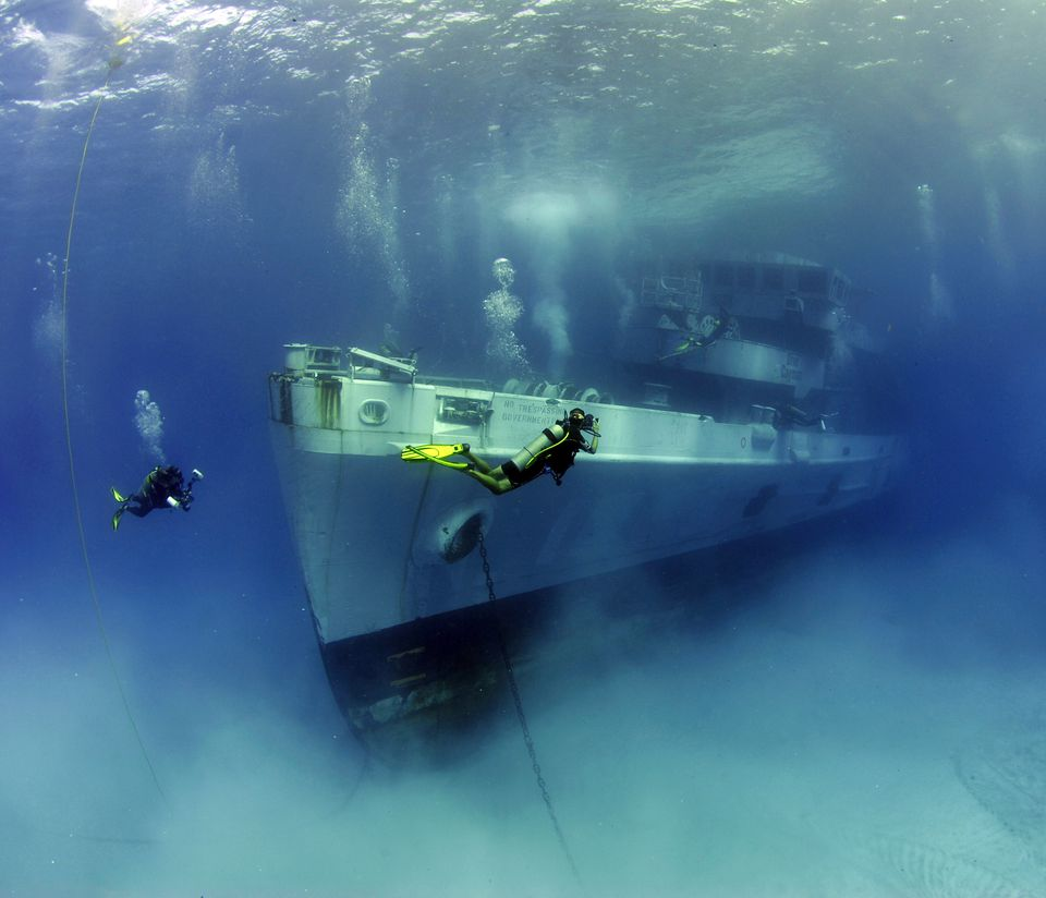 Cayman Islands underwater. Sunken vessel