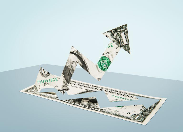 Paper-cut dollar - Growth arrow