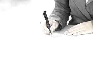 person signing letter