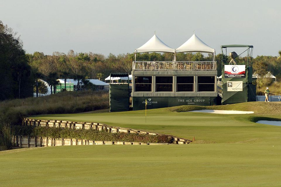 The 17th green is set for play in the Pro-Am at the PGA Champions Tour ACE Classic, February 17, 2005 in Naples, Florida.