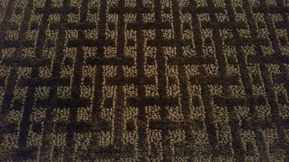 Brown basketweave pattern cut and loop style.