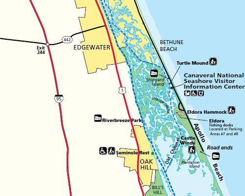 Directions And Maps For Floridas East Coast Beaches Including The Canaveral National Seashore Apollo Beach Park Service