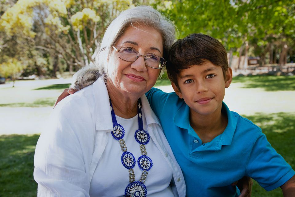 Hispanic grandmother and her grandson, portrait