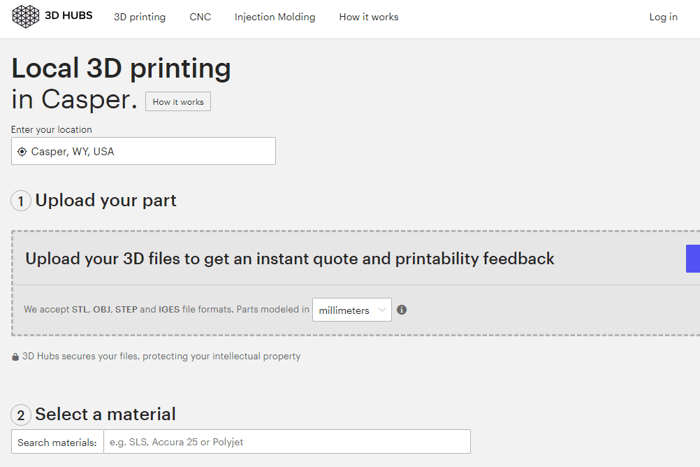 Screenshot of the 3D Hubs local printing page
