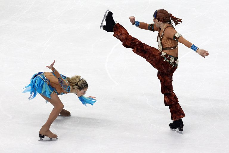 Kim Navarro and Brent Bommentre ice dancing