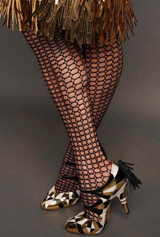 1920s inspired fishnet knee highs by Fogal, designed by Catherine Martin for The Great Gatsby movie.