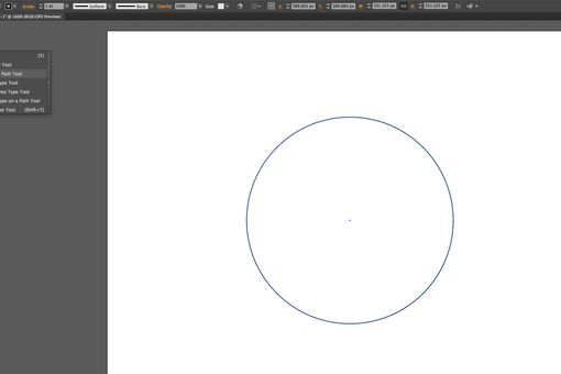 The circle is drawn and the Type On Path Tool is selected.