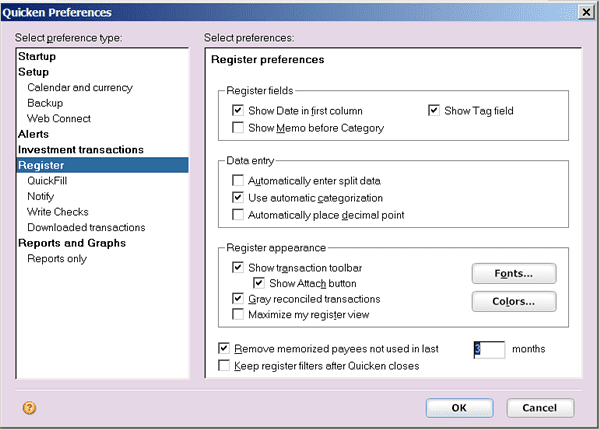 Set Quicken register preferences to change how account registers look and work.