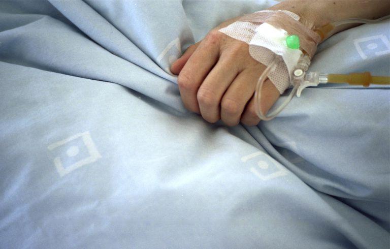 IV catheter in patient's hand