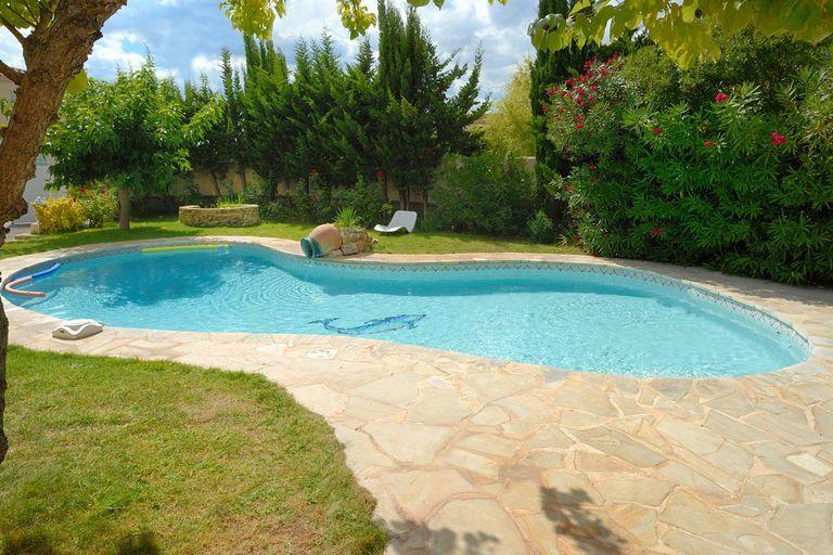 Pool, Mediterranean garden, plants, jar fountain, flowers