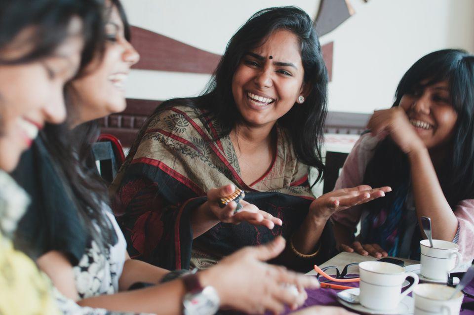 Indian women talking.
