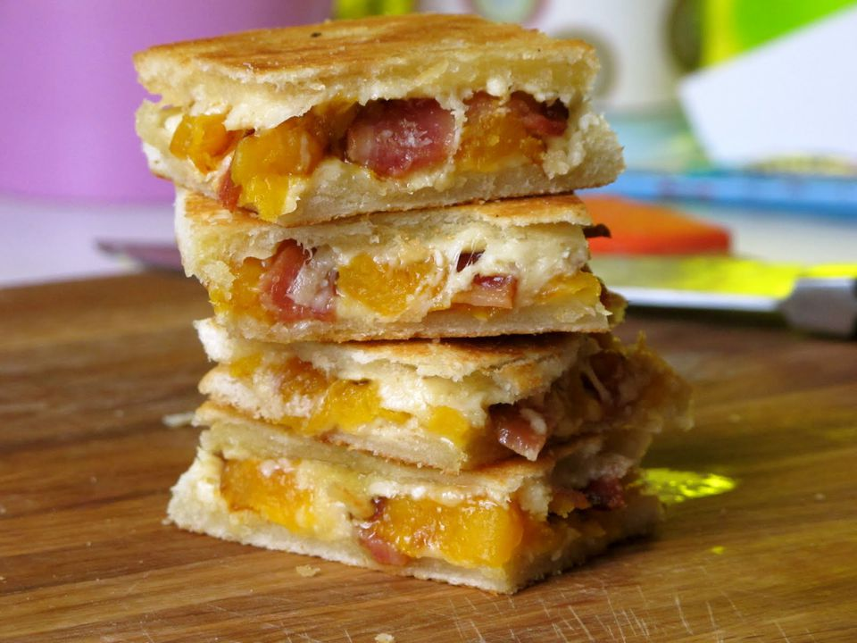 Butternut Squash Grilled Cheese with Gouda and Bacon