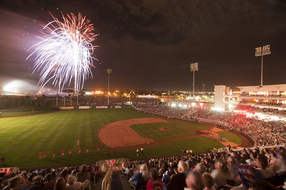 July 4th Fireworks at Baseball Game in Albuquerque
