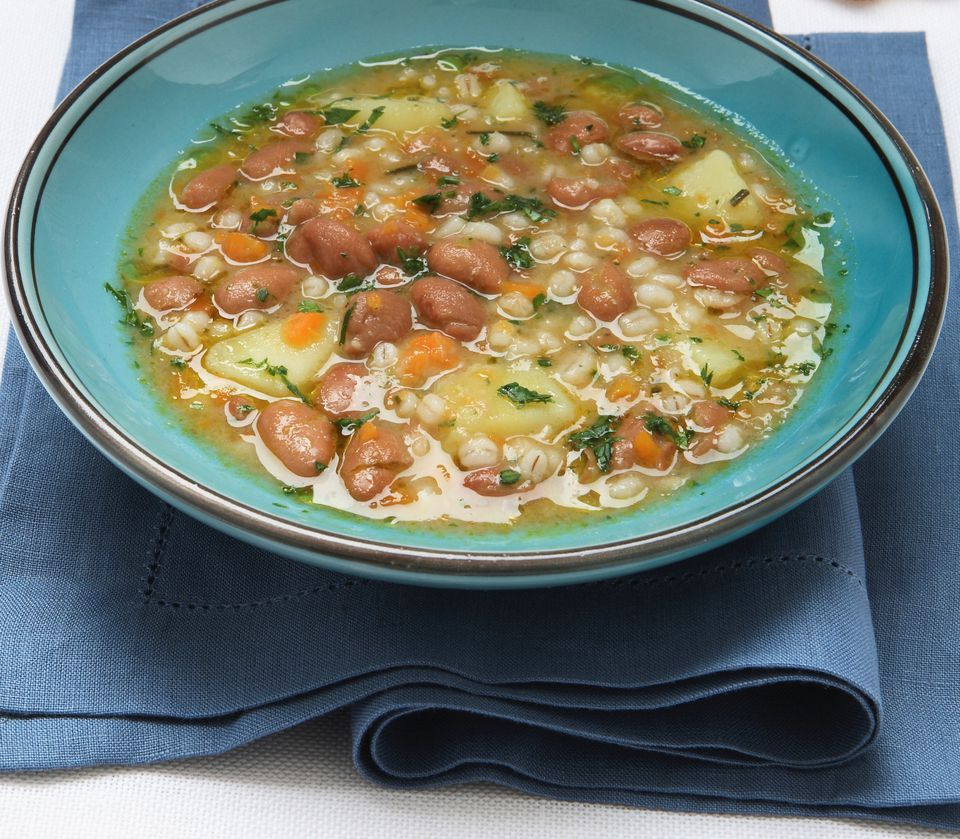 Bean and barley soup with vegetables