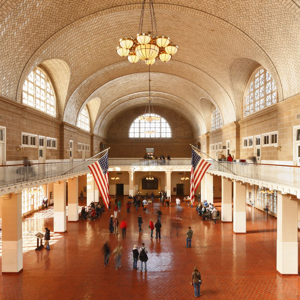 The Great Hall at Ellis Island in New York City