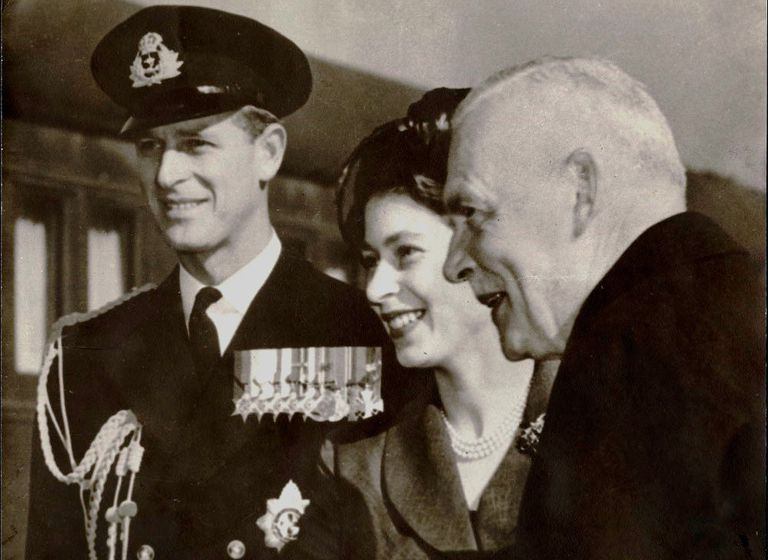 Louis St. Laurent, Prime Minister of Canada (R), With Princess Elizabeth and Prince Philip
