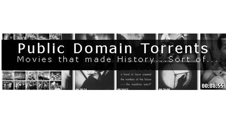 Screenshot of the Public Domain Torrents website