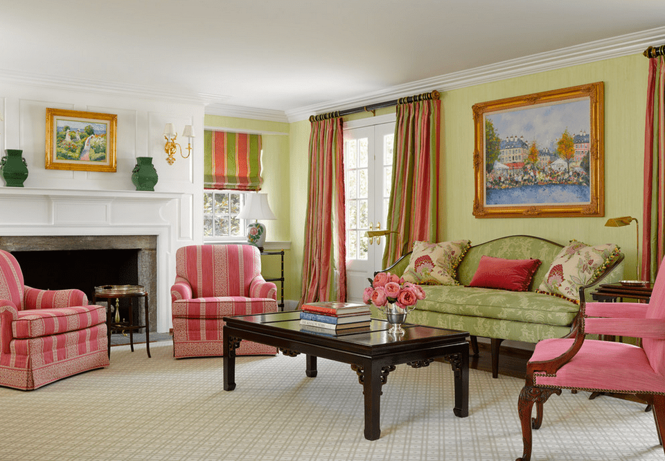 Traditional Green And Pink Living Room