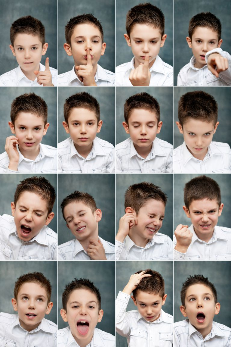 Various emotions of young boy