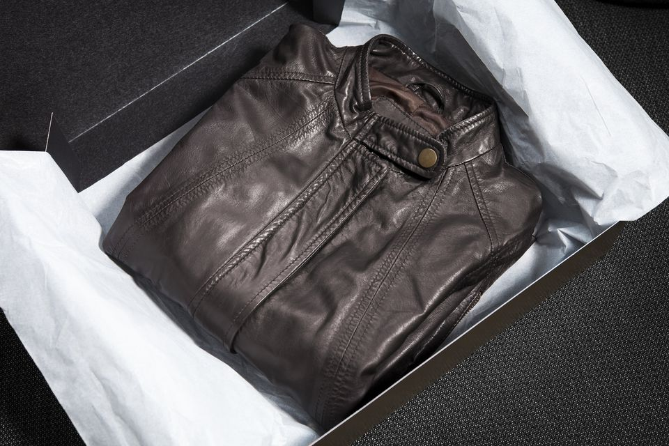 leather jacket in gift box