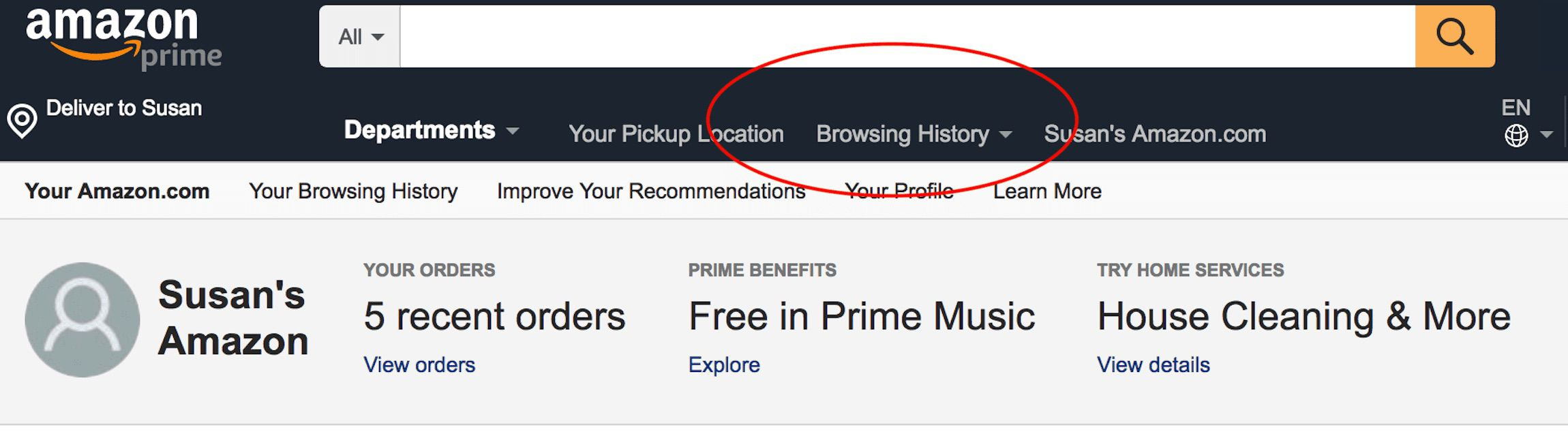 Screenshot of the Amazon home page with Browsing History circled in red.