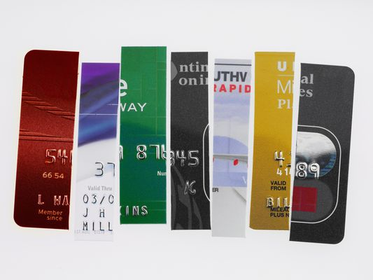collage of cut up credit cards