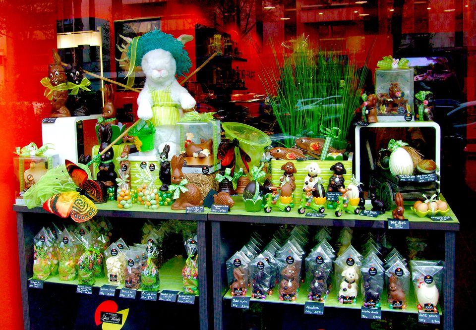 A shop window in Paris displays Easter chocolate treats.