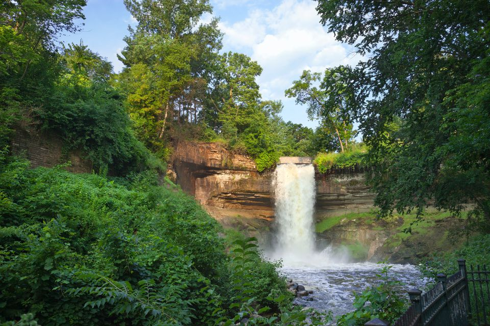 Scenic View Of Minnehaha Falls In Park