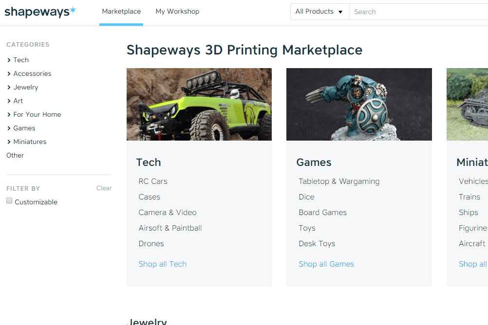 Screenshot showing 3D printed objects you can buy at Shapeways
