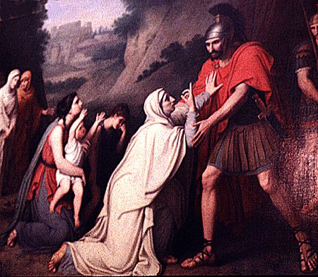 """Venturia at the Feet of Coriolanus"" by Gaspare Landi"