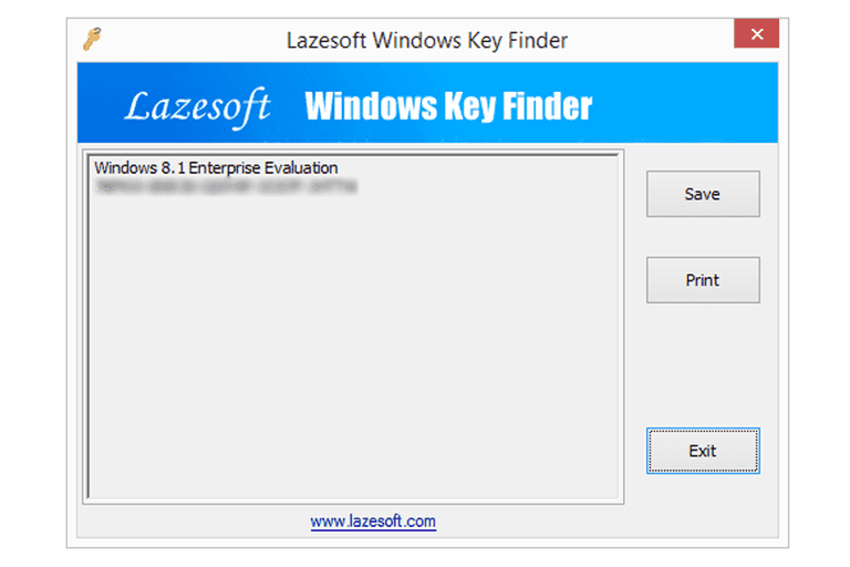 Screenshot of Lazesoft Windows Key Finder