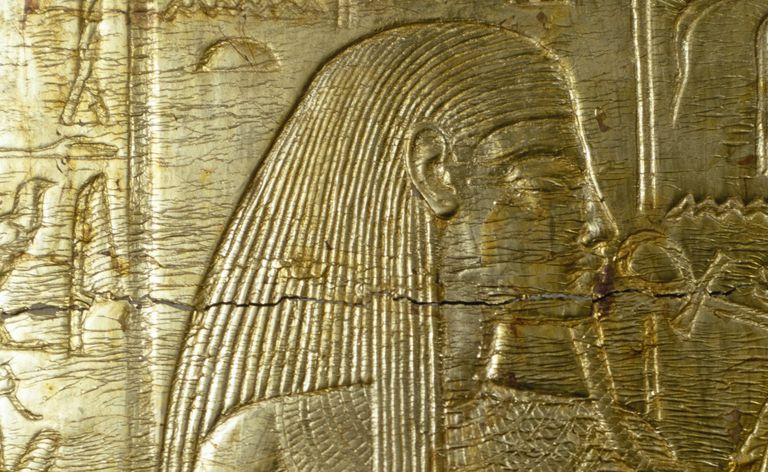 Detail from engraving of gold covered chapel from Tomb of King Tutankhamun, Egypt