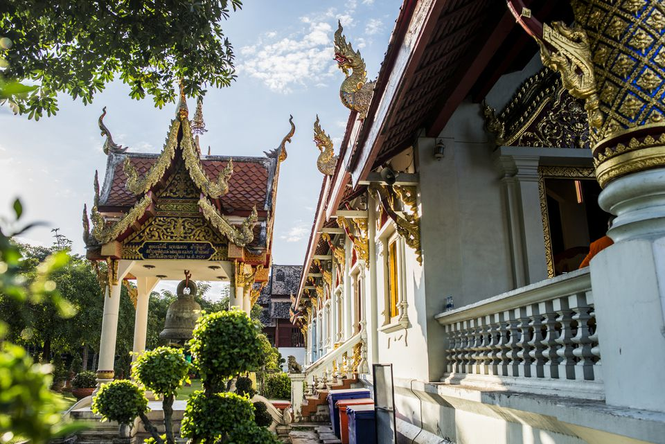 Temple garden and exterior at Wat Phra Singh, Chiang Mai, Thailand