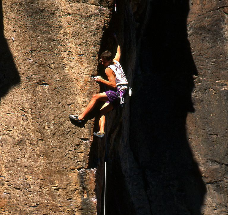 Ian Spencer-Green climbs at the Old New Place at White Rock climbing area in New Mexico.
