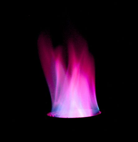 This purple fire results from heating potassium chloride and strontium chloride.