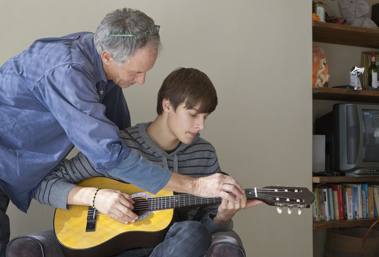 Father helping son play guitar
