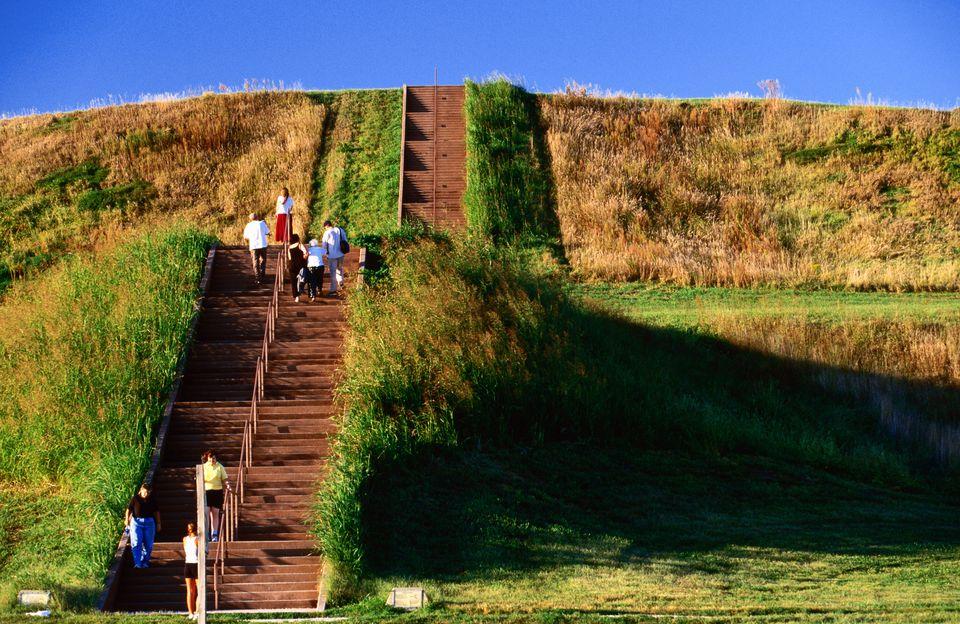 Tourists climbing steps up Monks Mound, Cahokia Mounds.