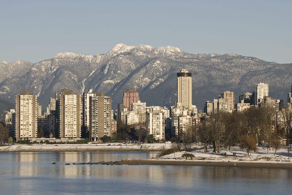 Kitsilano Beach with high rise buildings in the background, Vancouver, British Columbia