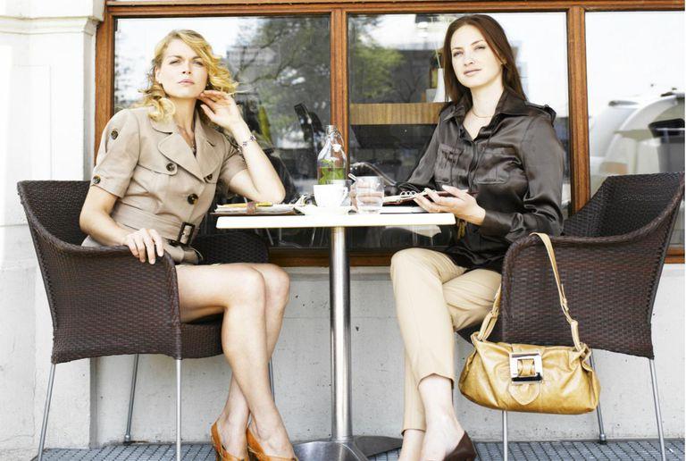 Two women at an outdoor restaurant