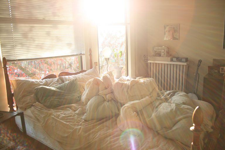 Bedroom bed unmade