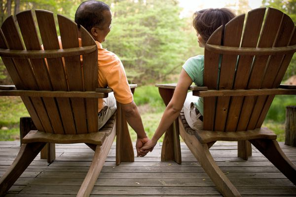 Adirondack Couple Holding Hands